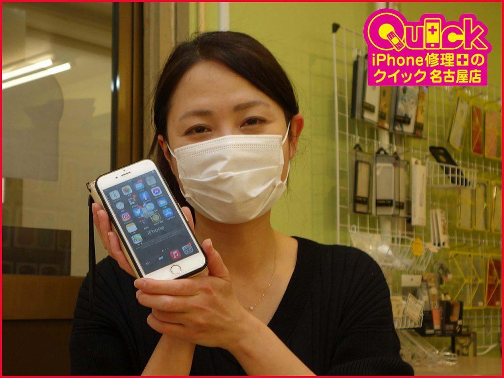 ☆iPhone6Sのバッテリー交換修理に名古屋市内よりご来店!アイフォン修理のクイック名古屋